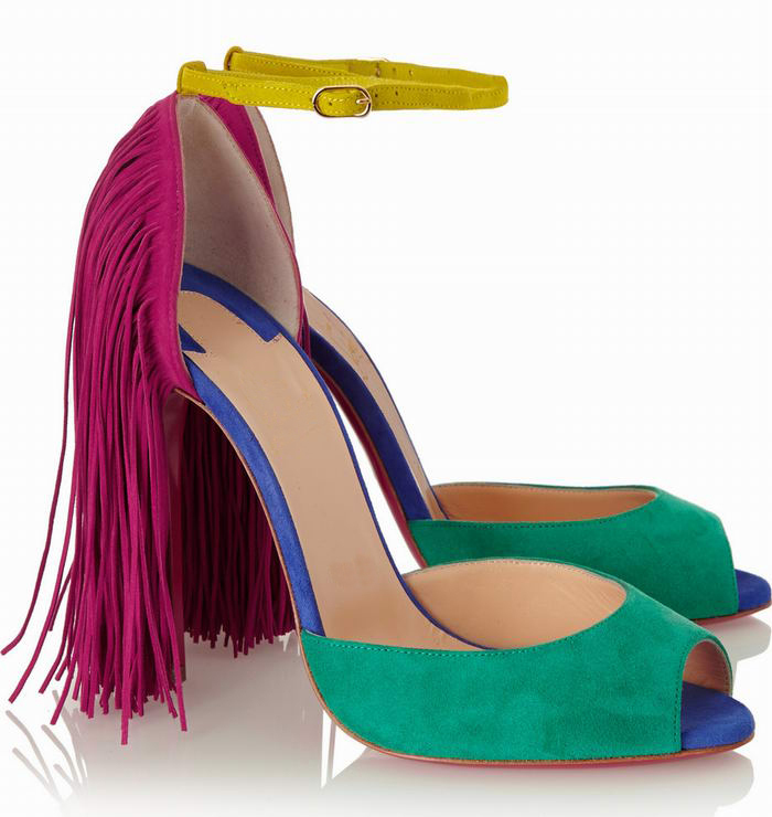 2015 Famous Brand women's new fashion sexy high heels Suede leather tassel peep toe pumps red bottom shoes big size 34--42
