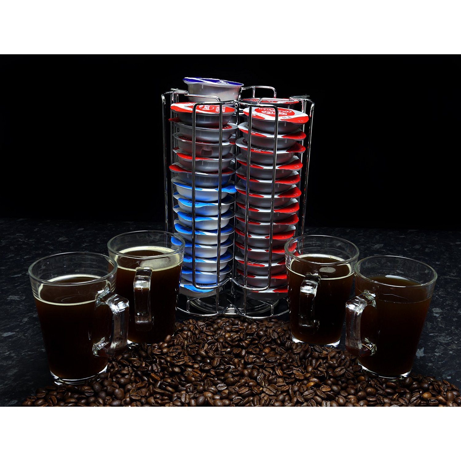 First4Spares Premium Revolving Chrome Tassimo 52 T-Disc Coffee Pod Capsule Holder + 4 Free Latte Glasses and Spoons