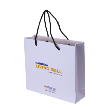 Promotional custom print 250g white shopping paper bag