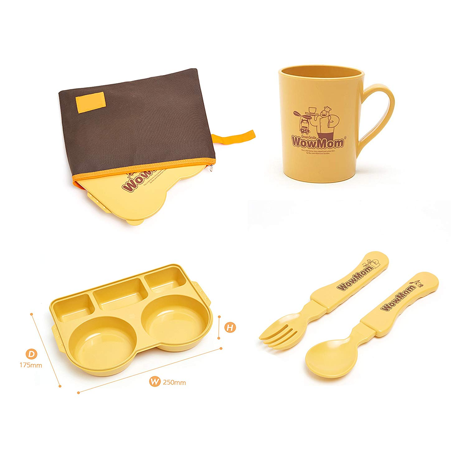 Wowmom Baby Kids Lunchbox+Mug+Spoon+Fork Set/Non-Toxic/Environmental-Friendly, Made of Corn&Bamboo/Dishwasher&Microwave Safe/Made in Korea
