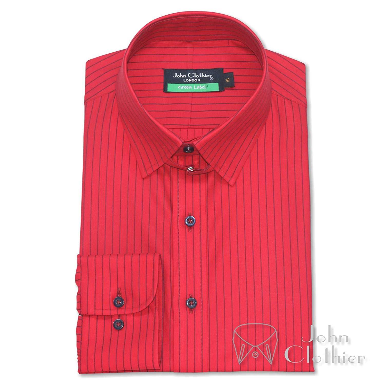WhitePilotShirts Tab Collar Mens Bankers Shirt Pink pin Stripe 100/% Cotton Loop Collar Single Cuff Gents 100-14
