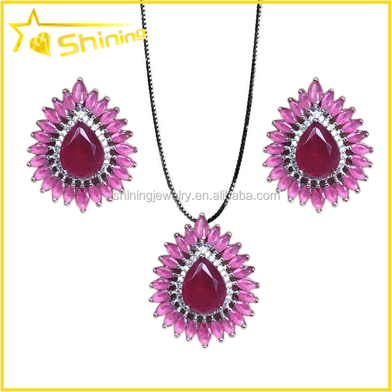 best selling teardrop earrings and necklace jewelry with rose quartz stone paved bridal jewelry set