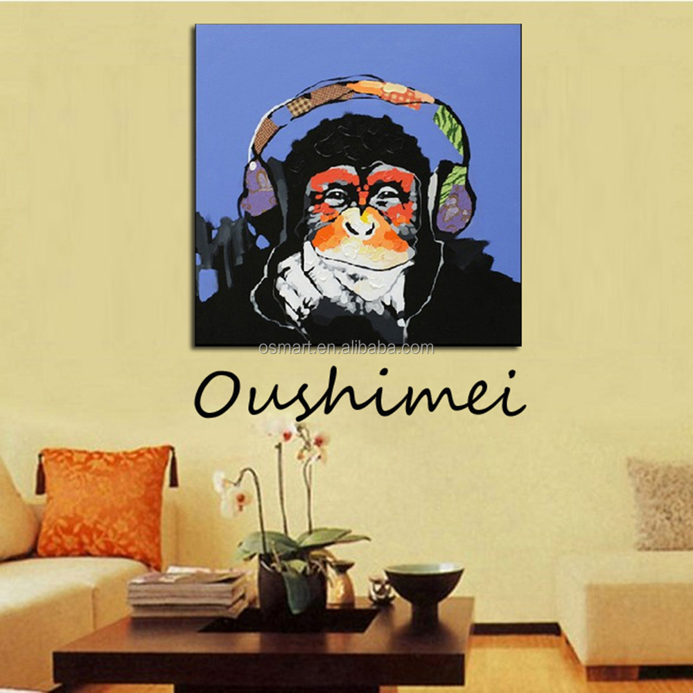 Hand Painted Monkey Oil Paintings Modern Abstract Animals Pictures ...