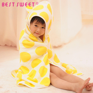 cartoon colourful spots terry cotton bath baby hooded towel with hood
