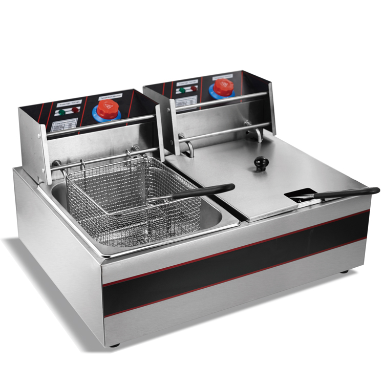 CE Proved Best Selling Commercial KFC Fryer Machine 2 Tanks Counter Top Stainless Steel Automatic Deep Fryer Electric