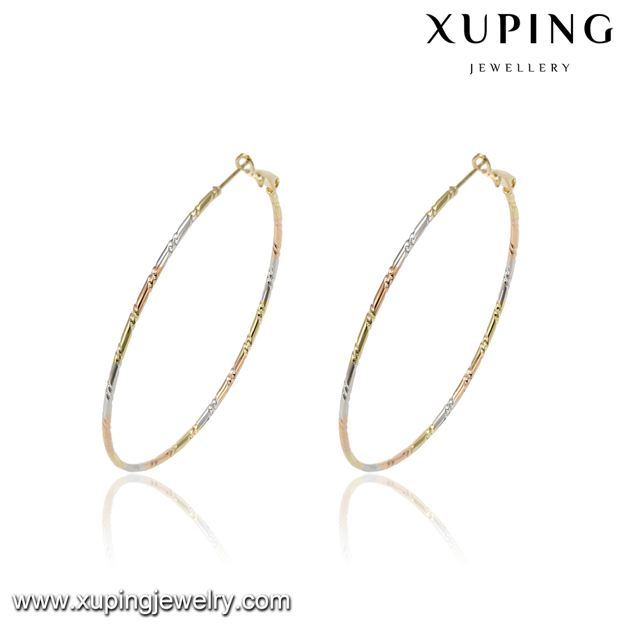 93812 Xuping Korea style fashion cheap gold plated big round hoop earrings made in China for girls