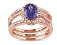 BLUE SAPPHIRE 14K ROSE GOLD ENGAGEMENT RING