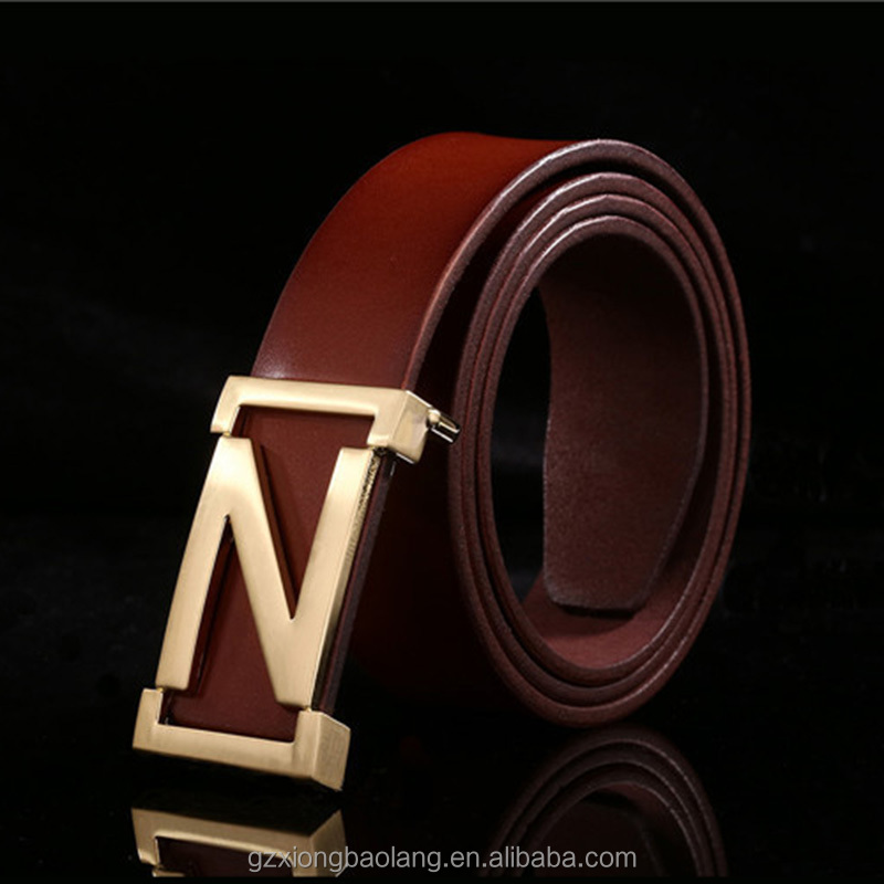XBL Antique Retro Gold buckle Mens Luxury Brown Genuine Leather Belt XB-M08