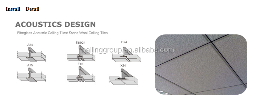 Sound proof สีสันระงับทนไฟใยแก้วแผงเพดานแผงอะคูสติกเพดานกระเบื้องสำหรับอินเดียตลาด