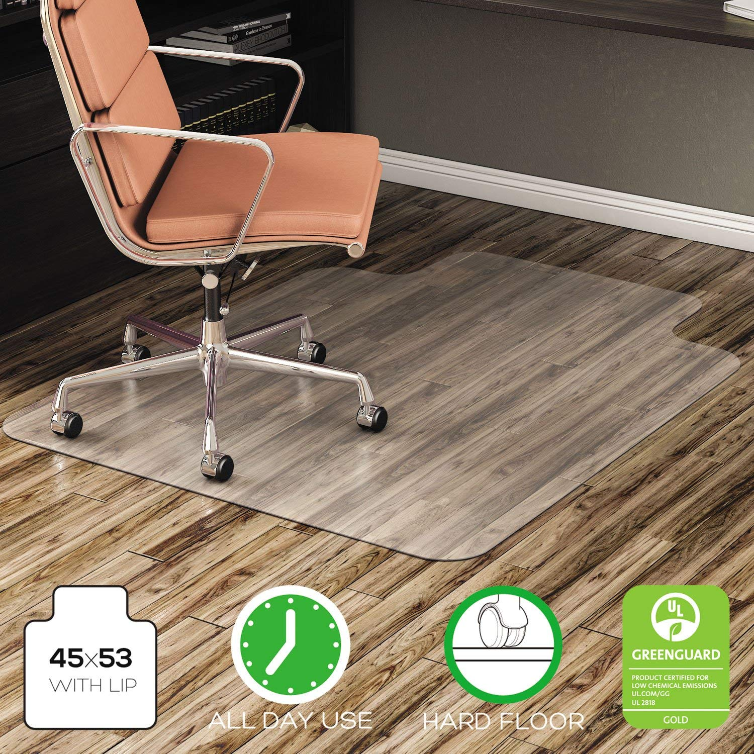 deflecto CM21232 EconoMat Anytime Use Chair Mat for Hard Floor, 45 x 53 w/Lip, Clear