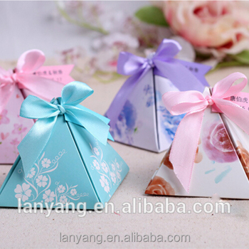 colored pyramid shape favor box for chocolate wedding bridal shower decor