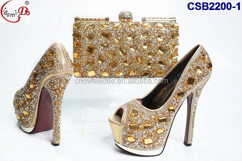 Colorful Stones Ornament CSB2200 4 Mixed Color Gold Italian Party Wedding Shoes And Bag Set