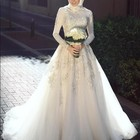 Cheap Turkey Istanbul Muslim High Neck Wedding Dress With Hijab