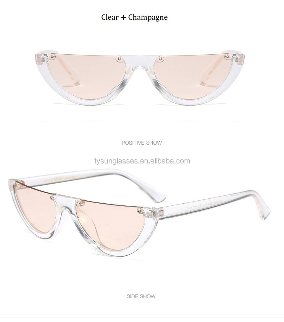 db436a4afbc74 Cool Trendy Half Frame Rimless Cat Eye Sunglasses Women 2017 Fashion  novelty Brand Designer Sun glasses
