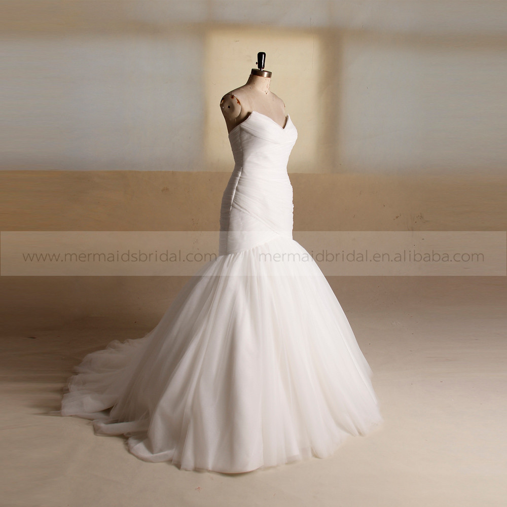 Elegant mermaid sweet heart pleated wedding dress bottom for Tulle bottom wedding dress