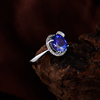 Unique Jewelry Blue Natural Tanzanite Diamond Rings Oval 6x8mm Solid 18Kt White Gold Tanznaite Gemstone Jewelry SR0290
