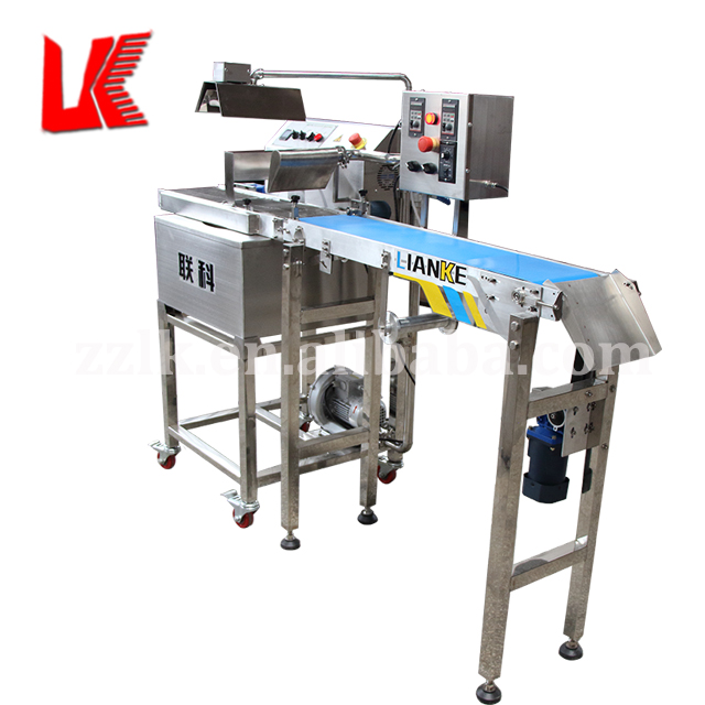 Automatic donut chocolate enrobing machine, chocolate glazing machine, chocolate covering machine