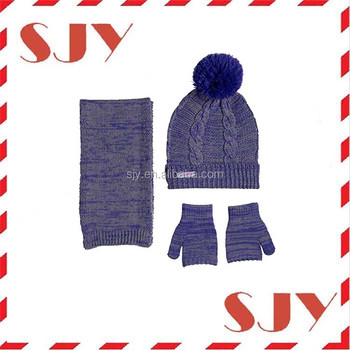 2e48c5d001f 3-Piece Cable Knit Cold Weather Girls Knitted Beanie Hat Scarf and Gloves