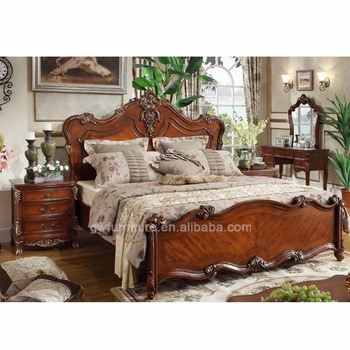100 Hand Carve Oak Wood Furniture American Style Bedroom Set Luxury Bed Frame A48