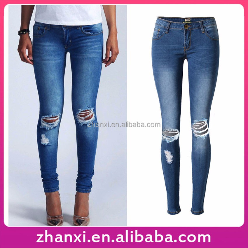 Women tight denim pants ladies ripped jeans wholesale china market