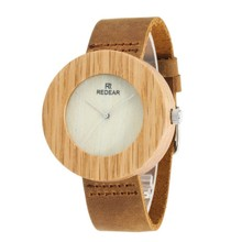 classical bamboo wooden watch new arrival women high quality vintage style leather quartz watch