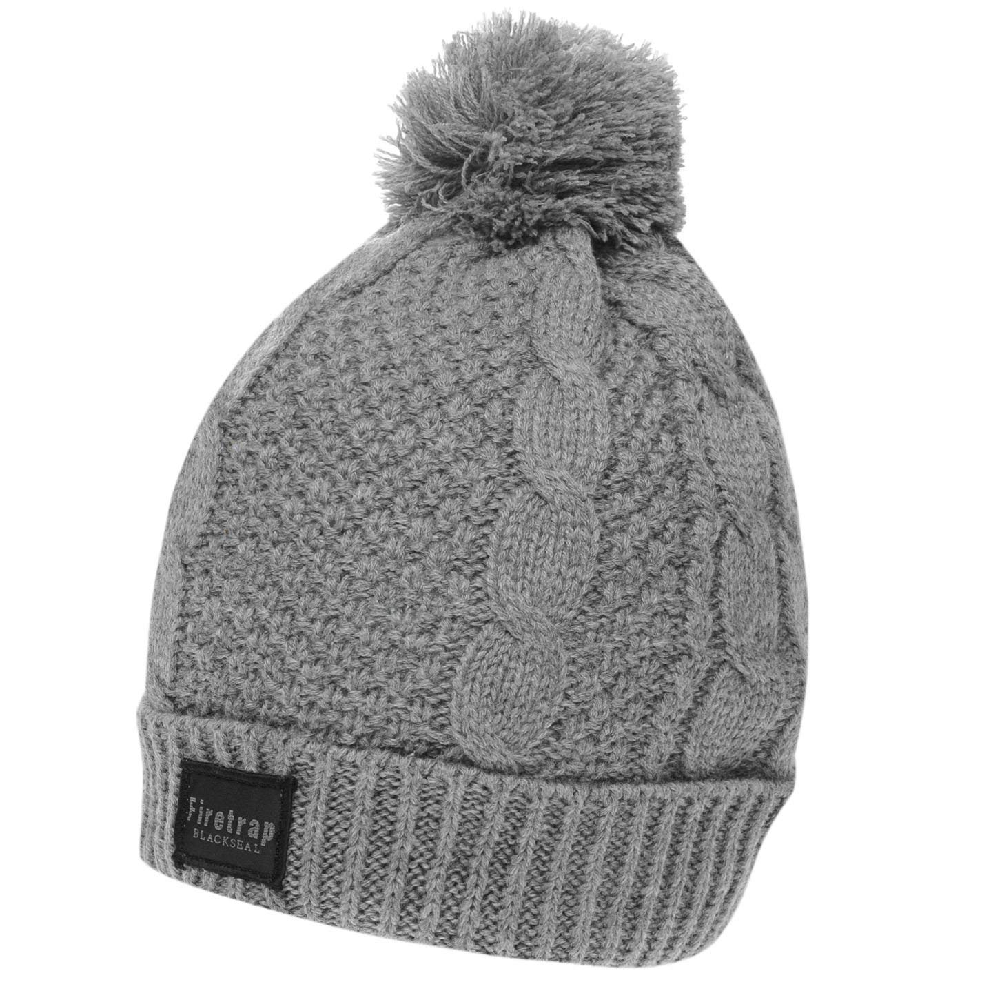 8057cf9ea0c Get Quotations · Firetrap Mens Cable Hat Bobble
