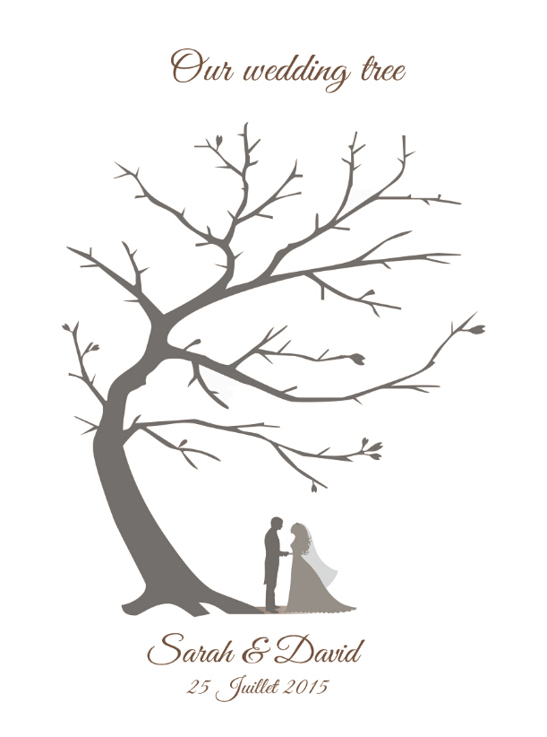 Customized vintage wedding fingerprint tree guestbook for Wedding tree guest book free template