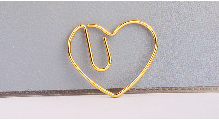 Gold color heart paper clip for promotional gift