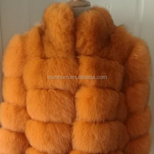 Custom Winter Casual Style Ladies Orange Color Natural Real Fox Fur Coat