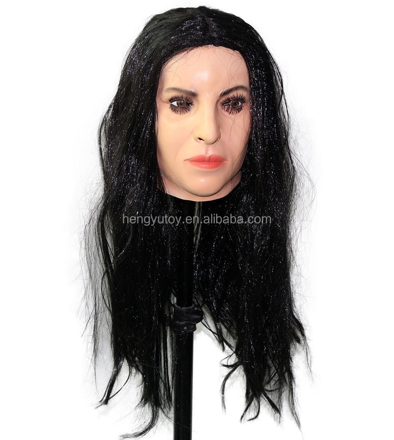 LATEX BLACK RUBBER HOOD DISGUISE FANCY DRESS FULL HEAD WOMAN FACE FEMALE MASK