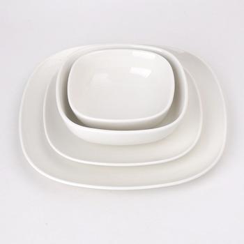 Restaurant Hotel Pure Plain White Ceramic Porcelain Square Plates