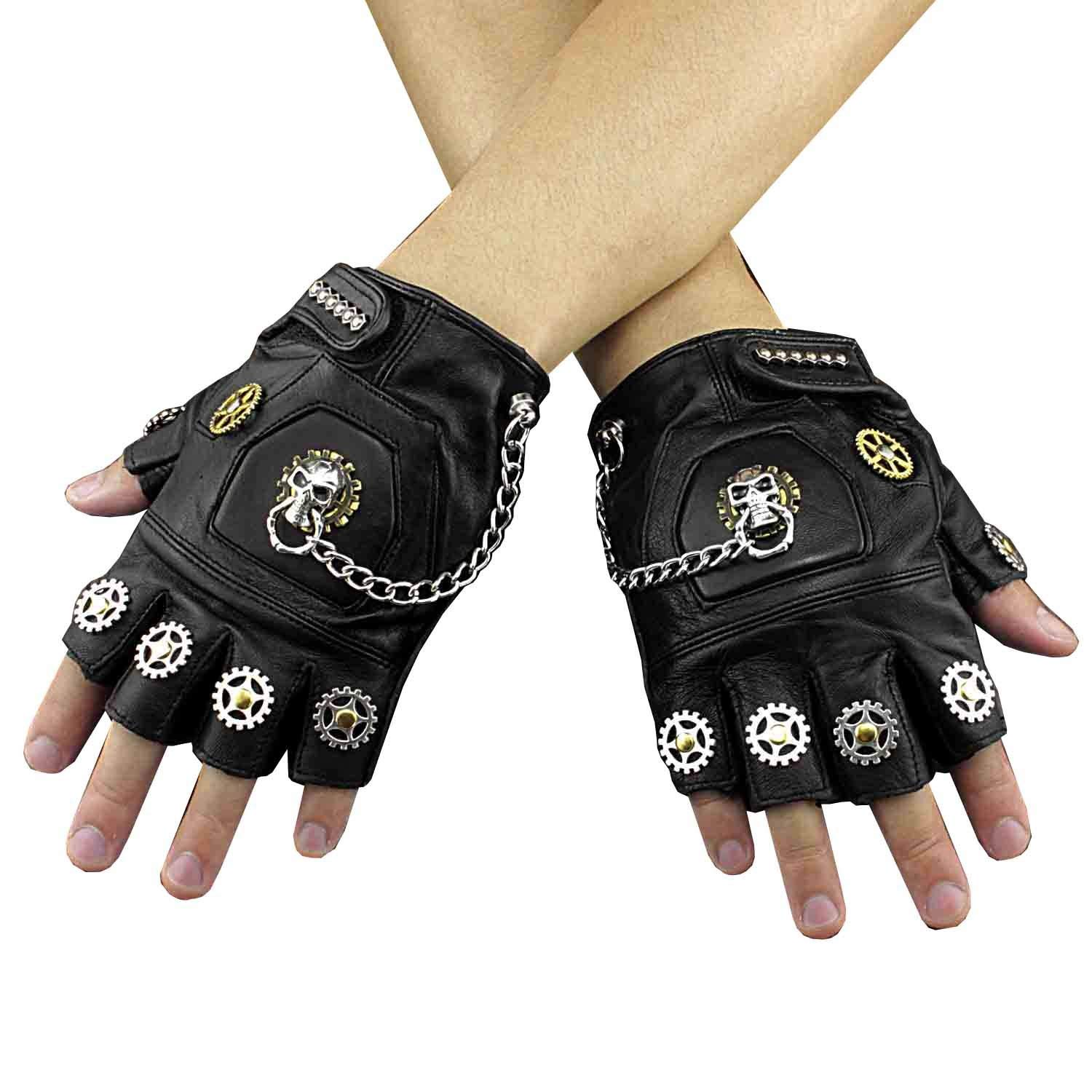 37bb92a89 Get Quotations · New Steampunk Skull Gears Mens Genuine Leather Fingerless  Gloves
