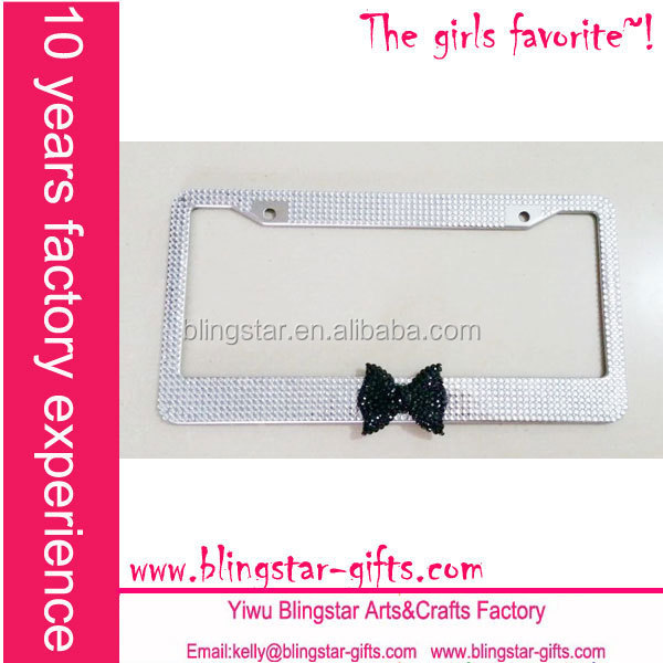 Belle arc strass bling bling license plate cadres