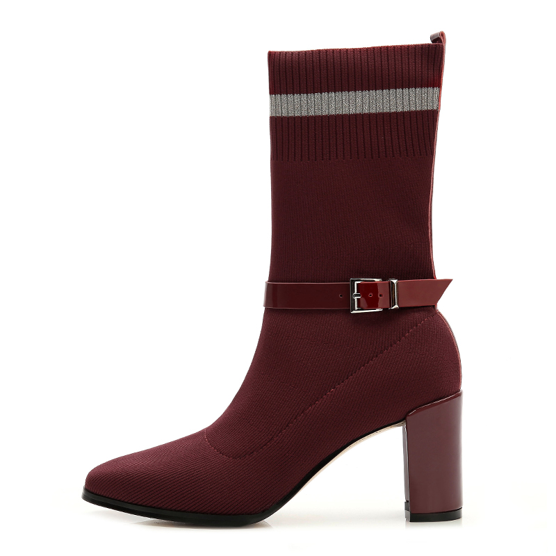 2019 rubber ladies new fashion ankle winter <strong>boots</strong> for women woolen yarn low heel ladies sexy ankle <strong>boot</strong>