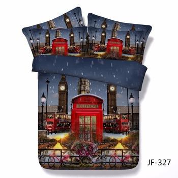 Uk Red Phone Box Famous Buses And Big Ben 3d Bed Set Buy 3d Duvet