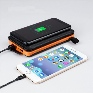 Solar Wireless Power Bank Charger 10000mAh with 2 Solar Panels Waterproof Foldable Portable Battery Pack with LED light