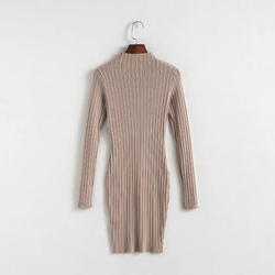 Alibaba Fashion Young Women Custom Pullover Long Knitting Sleeve Sweater Midi Dress