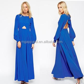 Custom Design Plus Size Elegant Blue Bell Long Sleeve Evening Dress
