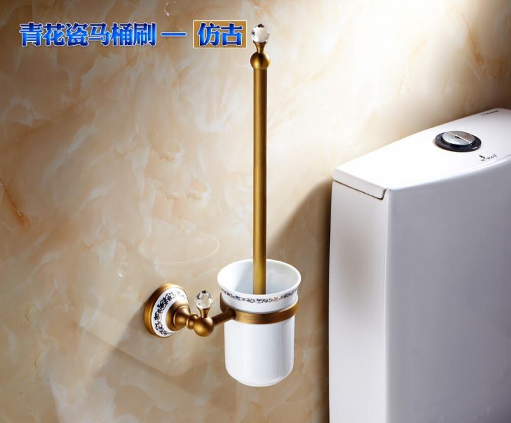 European antique toilet brush holder set,gold rose gold copper black toilet brush holder set,toilet brush holder,toilet seat Cup holder,Blue and white porcelain toilet brush-the antique color