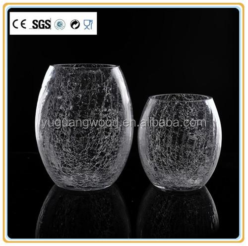 en gros clair forme de boule en verre craquel vase pas. Black Bedroom Furniture Sets. Home Design Ideas