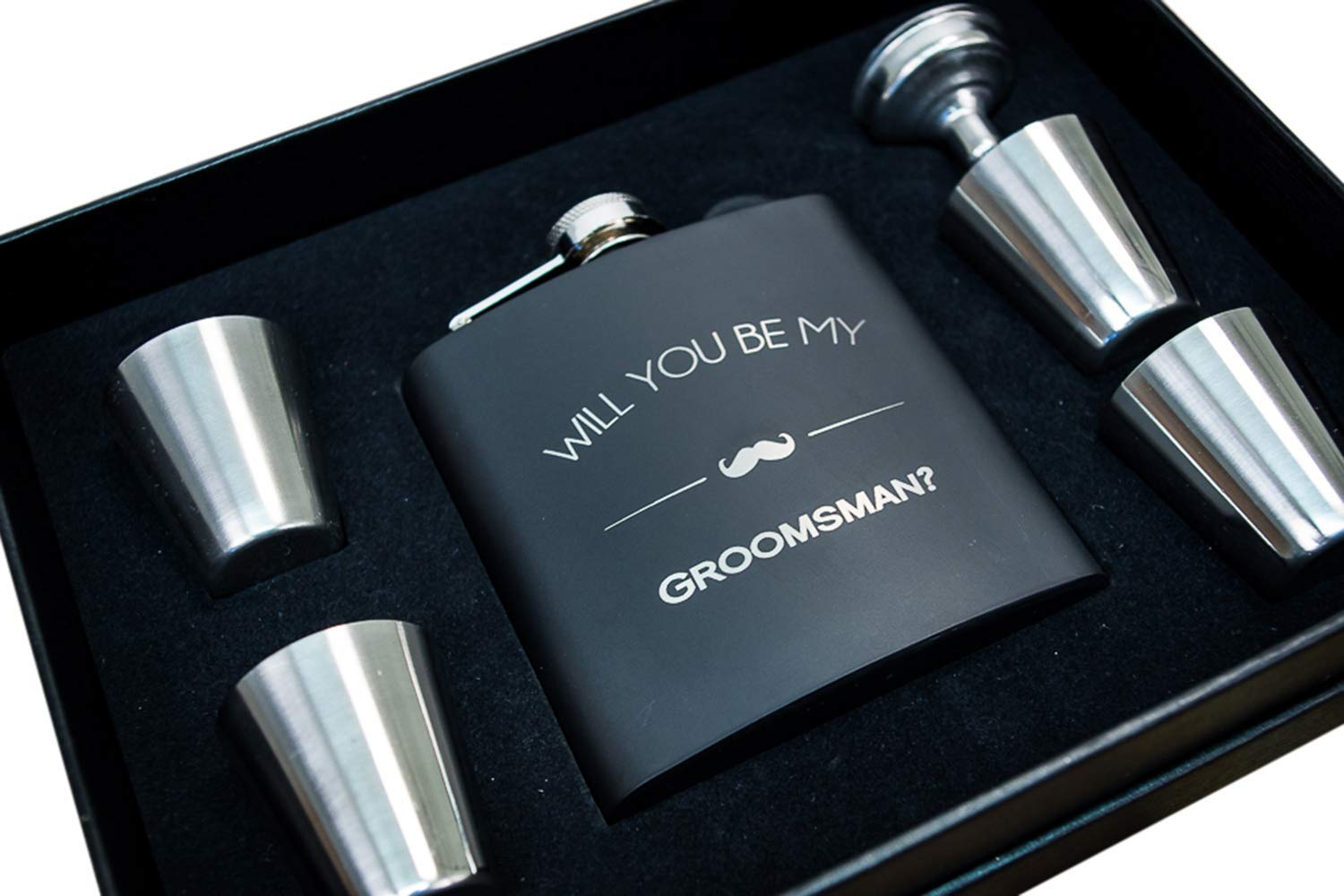 Groomsmen Proposal Gifts- Will You Be My Groomsman Gift Flask Box Set- Flasks For Men, Whiskey Flasks For Asking – Extra Thick 5mil #304 Stainless Steel, Laser Engraved, Leak Proof Groomsman 652