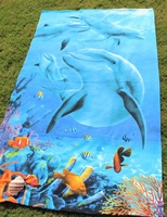Microfiber 100%polyester 1*1.8m swimming dolphins printed customized hot sale special bulk beach towels
