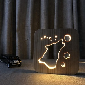 FS-T1843W wolf shape wood USB night light Children's desk lamp cartoon table lamp
