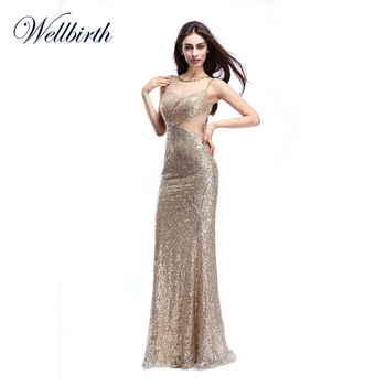 9e1a89ddce7 Long bling fish tail sequin sleeveless bodycon gown formal o-neck collar  mermaid evening dress