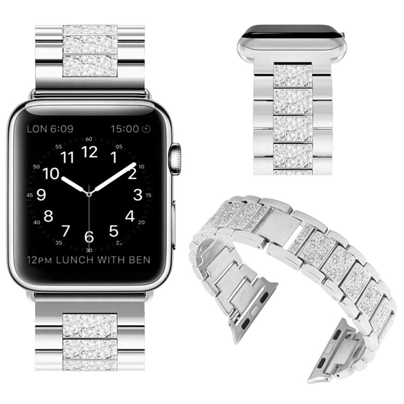 new fashion smart watch stainless steel band for Apple Watch with diamond bling bling