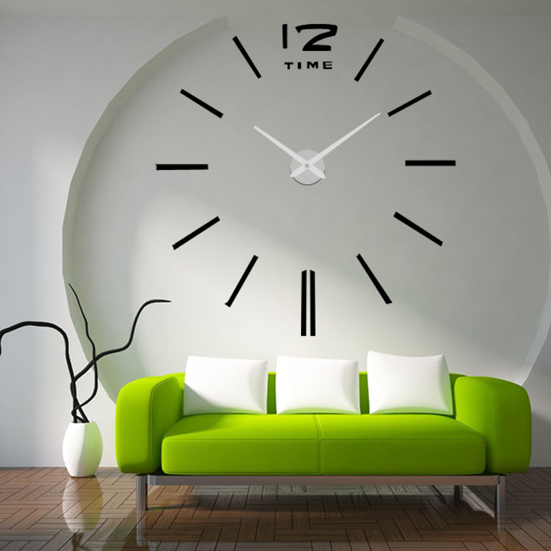 New Arrival Acrylic DIY 3D Three-dimensional Fashion Simple Wall Clock Bell Wall Stickers Creative Watches Home Accessories Y143