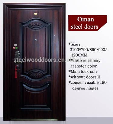 Main entrance exterior cheap steel security door buy for Cheap front door and frame