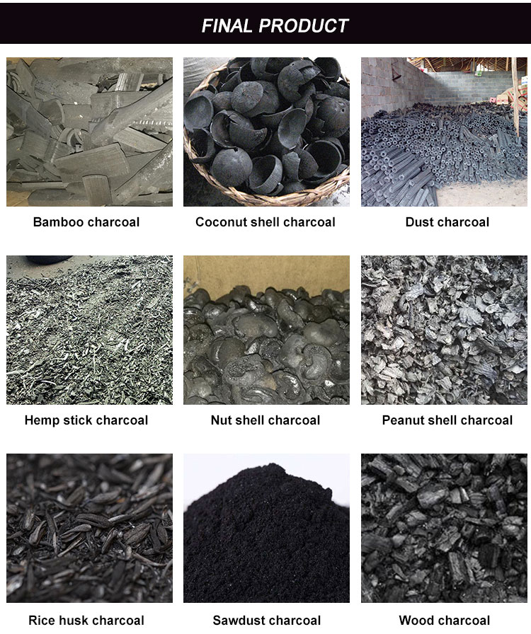 BBQ peanut shell charcoal rotary carbonized furnace Smokeless Charcoal Wood Waste Carbonization Furnace