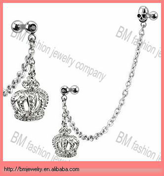 Fashion dangling crown chain cartilage ear piercing earrings body jewelry with skull barbell