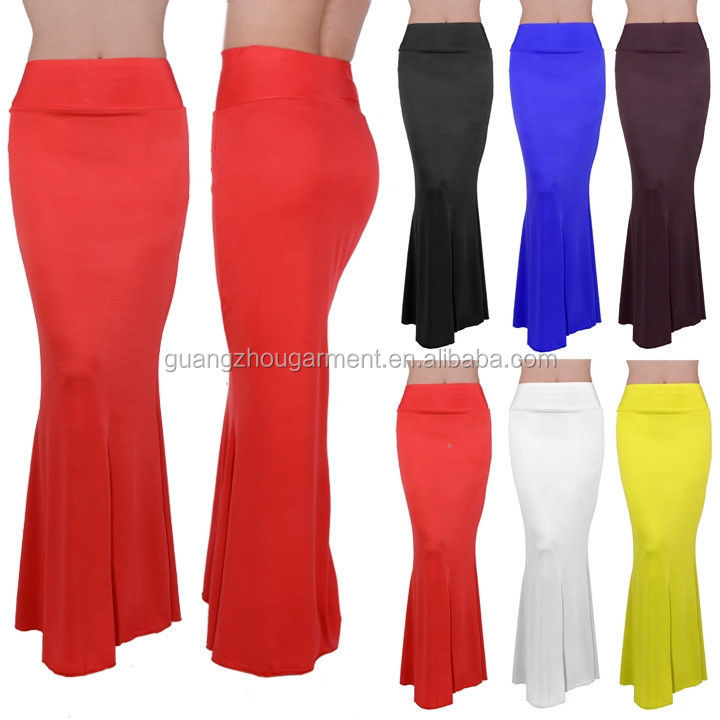 2015 Women Fashion Party High Waist Plain Color Fitted Slim ...